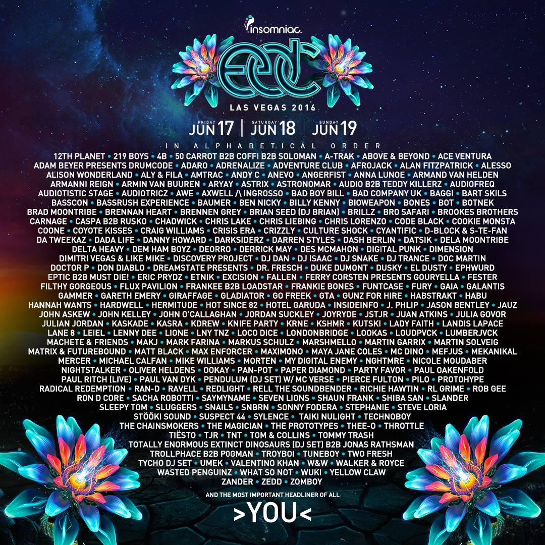 EDC Las Vegas 2016 lineup
