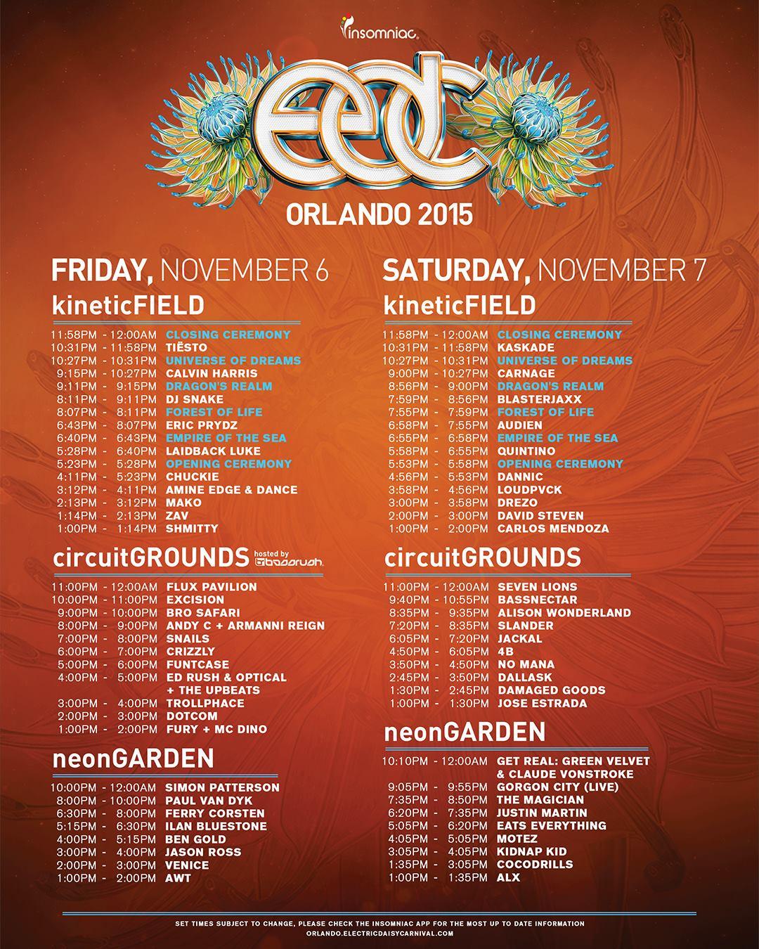 EDC Orlando 2015 Timetable