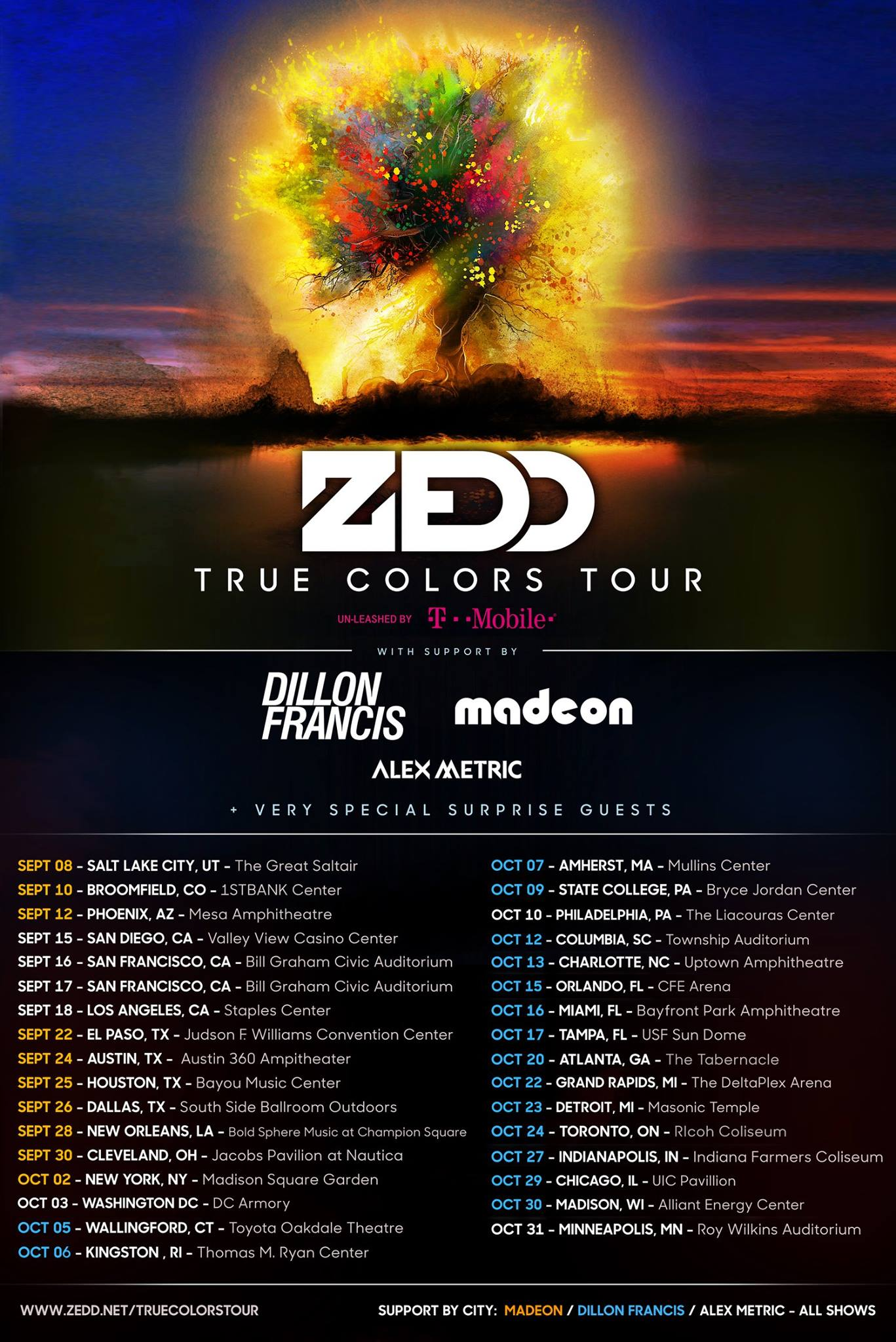 ZEDD schedule SEP OCT