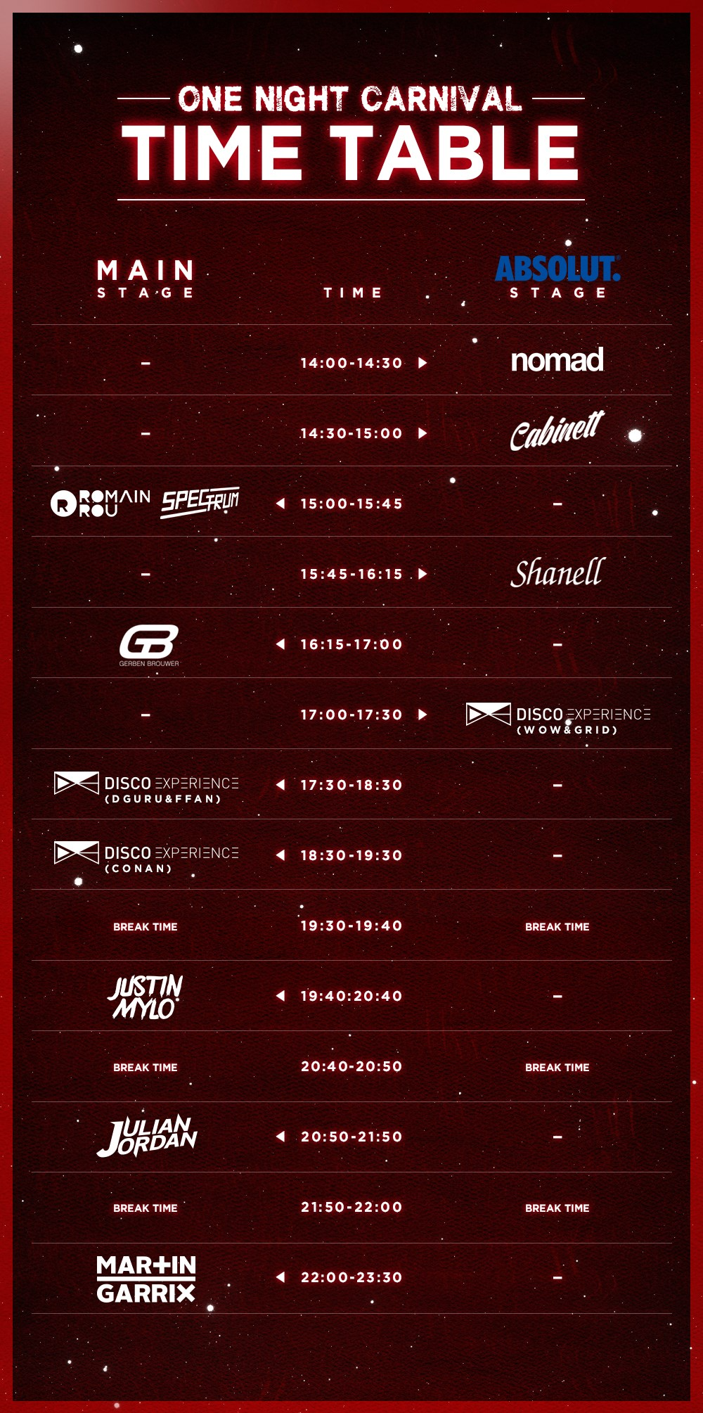 ONE NIGHT CARNIVAL TIME TABLE