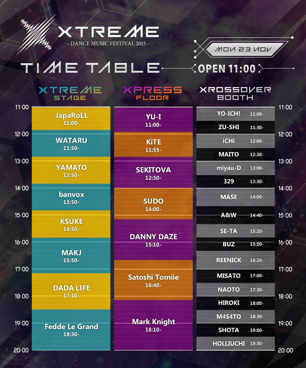 Xtreme ALL AREA TIME TABLE
