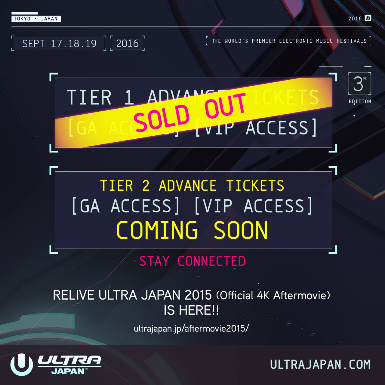 TIER1 ADVANCE TICKETS ALL SOLD OUT