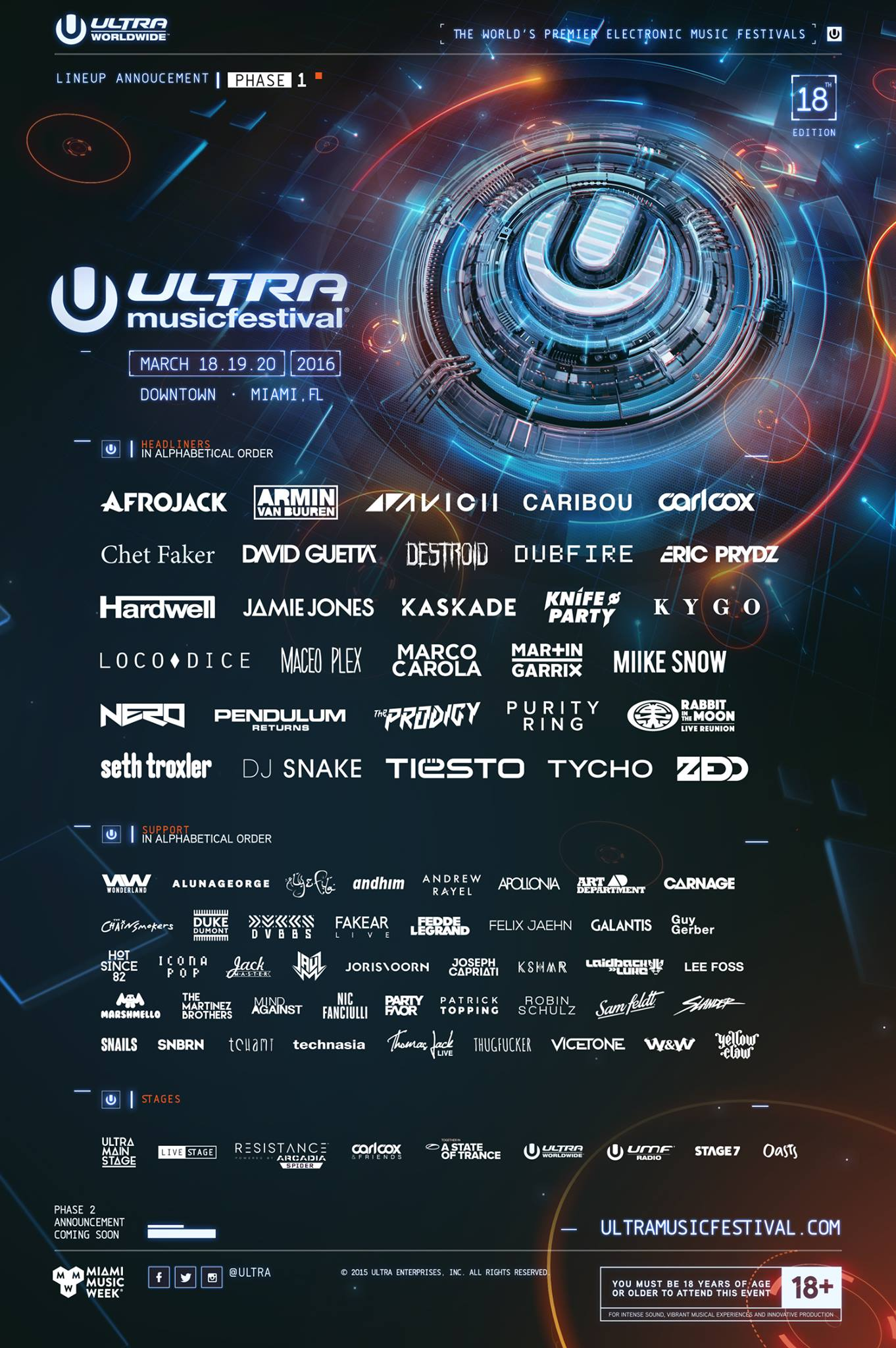 Ultra Music Festival 2016 lineup the first