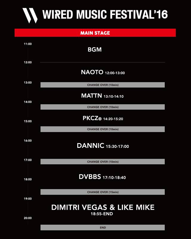 WIRED MUSIC FESTIVAL 2016 timetable