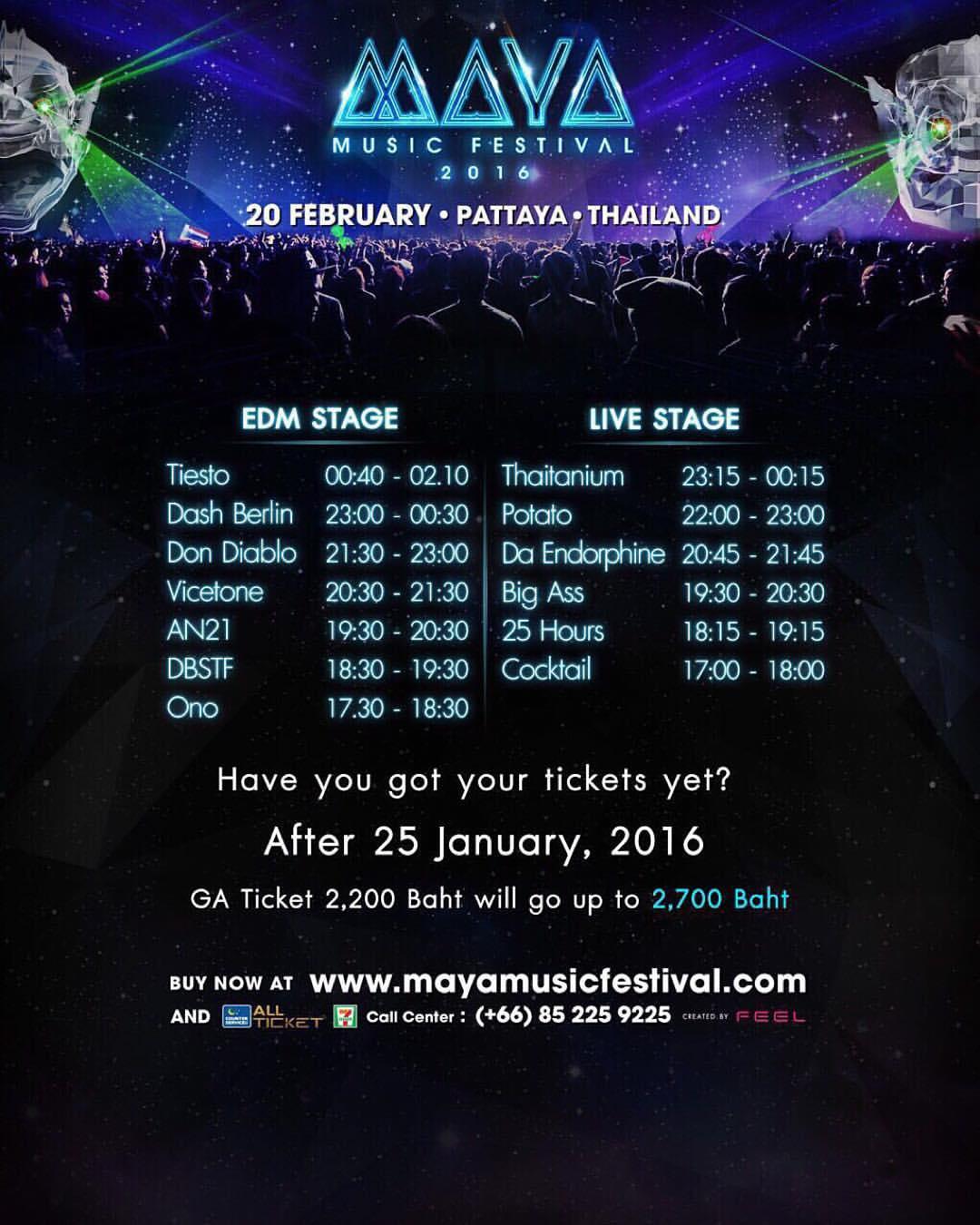 MAYA Music festival Timetable