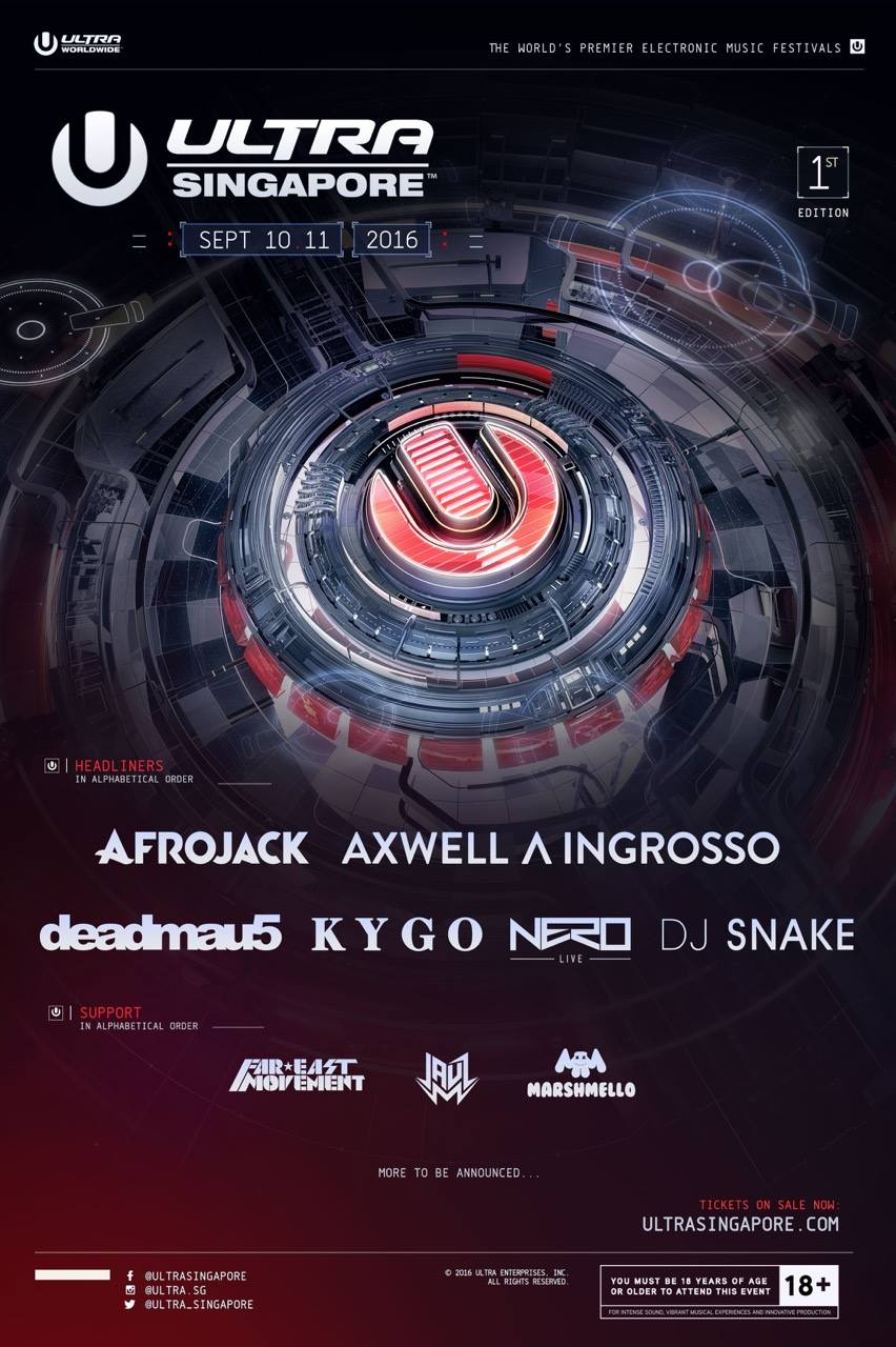 Ultra Singapore 2016 Phase 1 Lineup