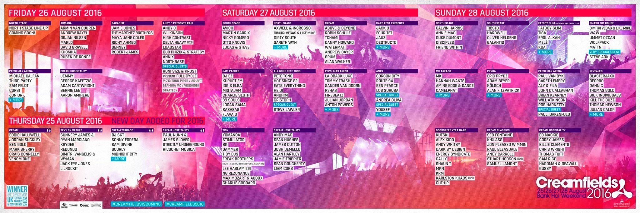 Creamfields 2016 line up