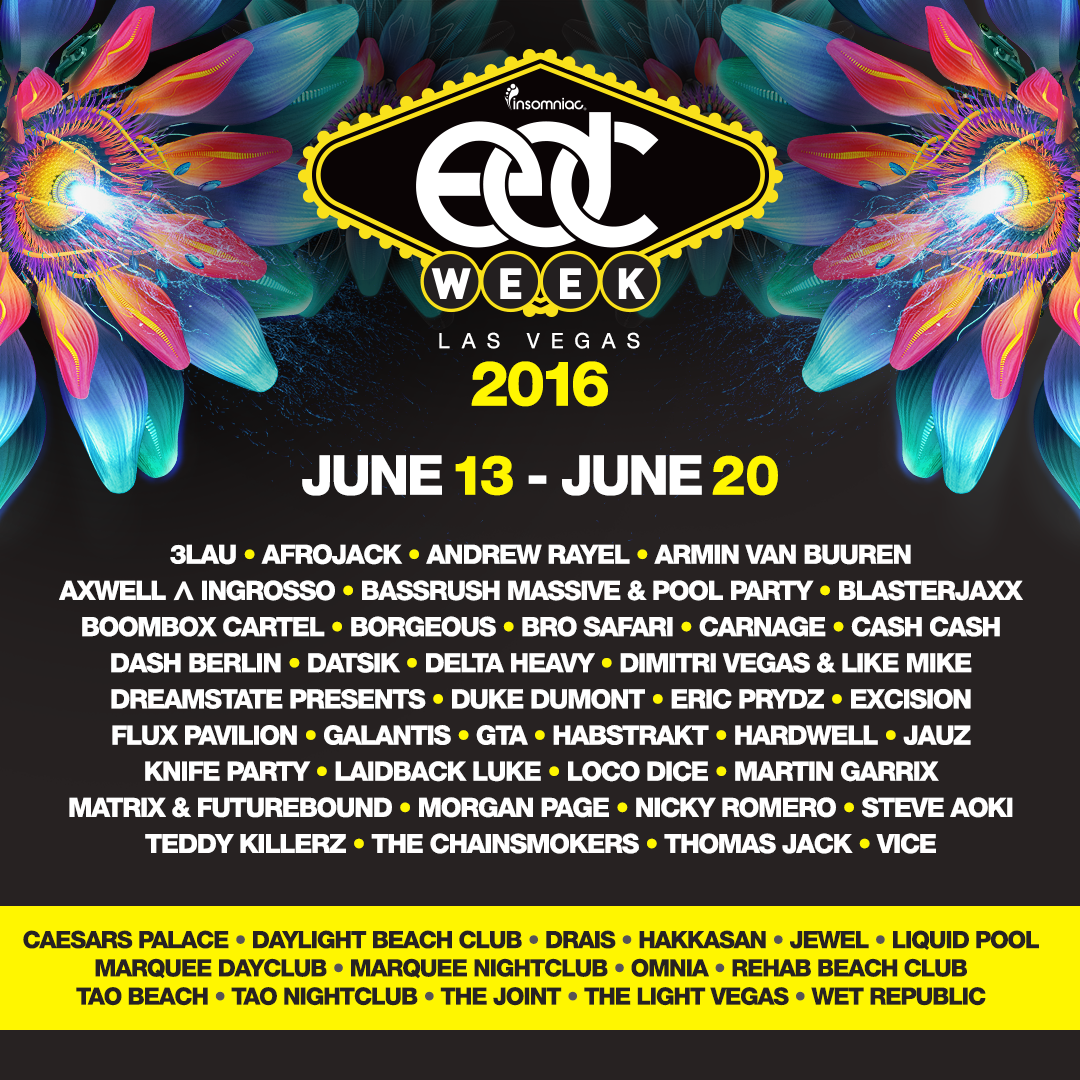 EDC Las Vegas 2016 LINE UP