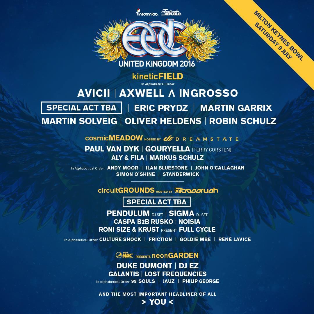 edc uk 2016 lineup