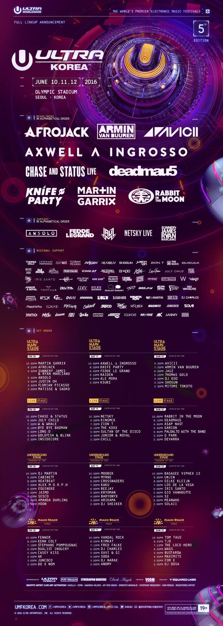 Ultra Korea 2016 FULL LINEUP PART2