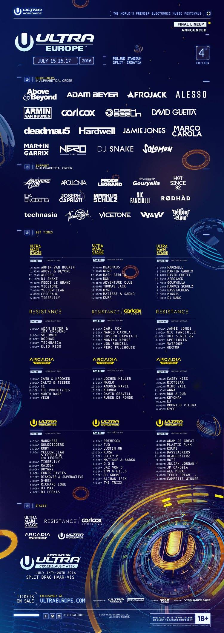 Ultra Europe 2016 fullineup