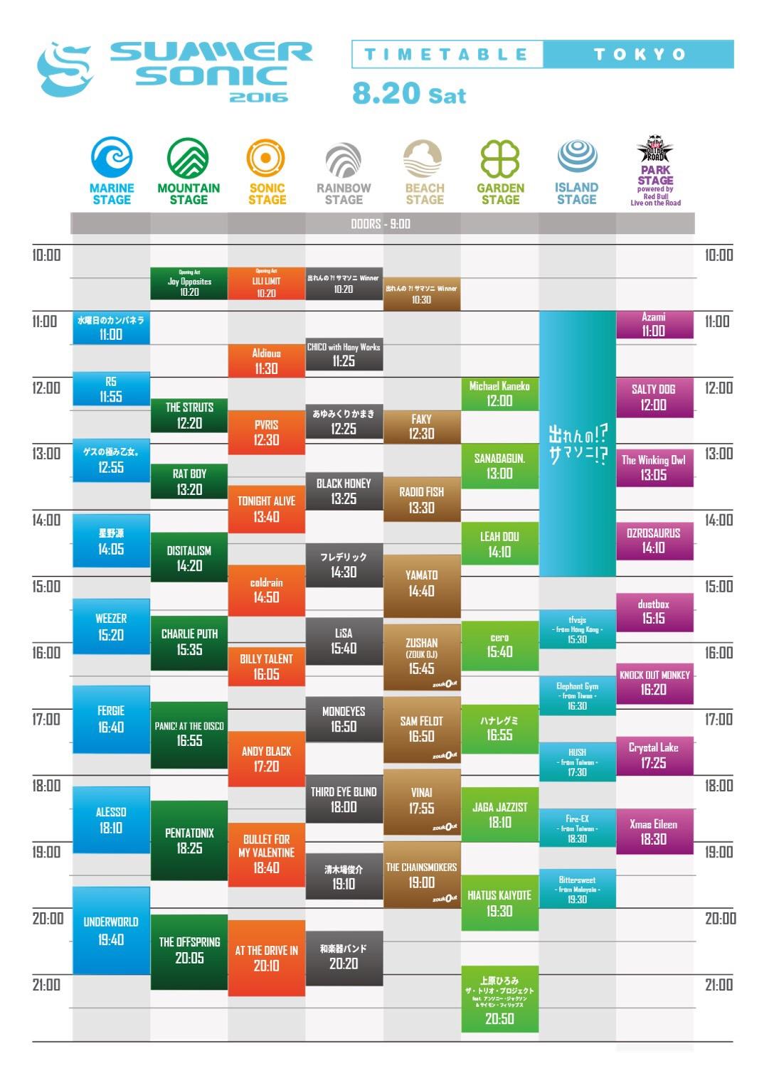 SUMMER SONIC 2016 TOKYO 8.20 SAT